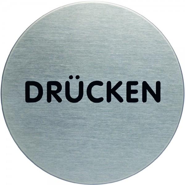 Schild PICTO, DRÜCKEN, selbstklebend, Edelstahl, rund, Ø: 65mm, silber