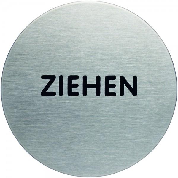 Schild PICTO, ZIEHEN, selbstklebend, Edelstahl, rund, Ø: 65mm, silber