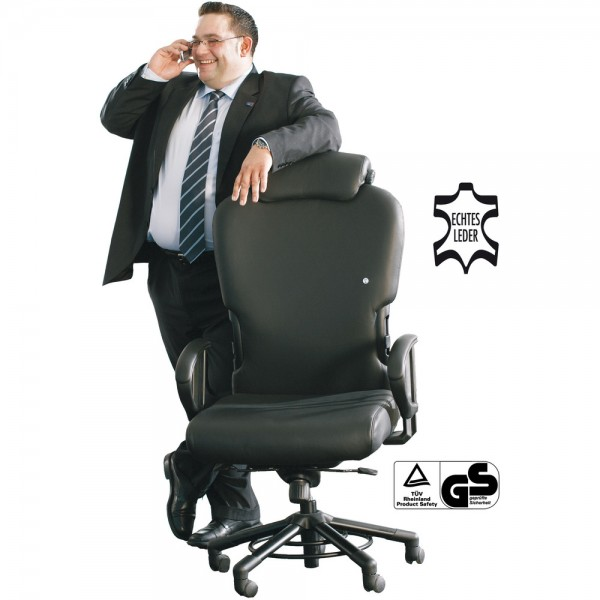 Bürostuhl XXXL, mit Montage, m.Nackenst., Leder, sw