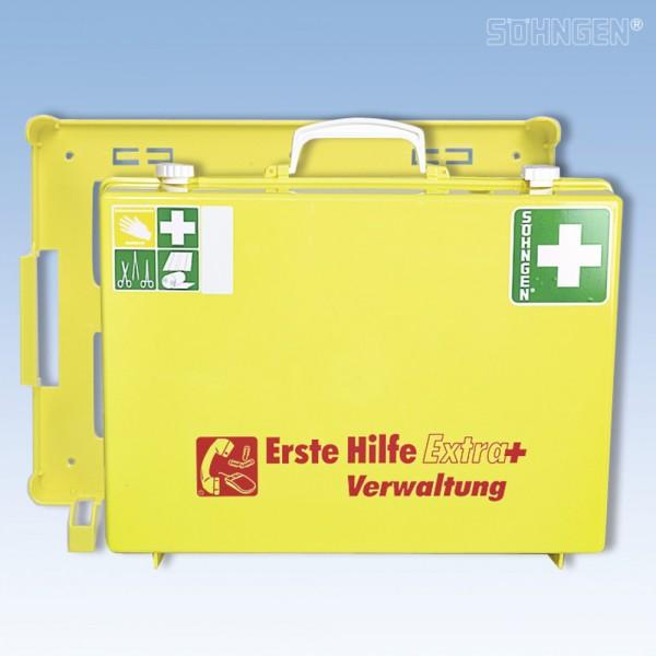 Erste-Hilfe-Koffer Extra+ Verwaltung, gefüllt, Inhalt: DIN 13157, gelb