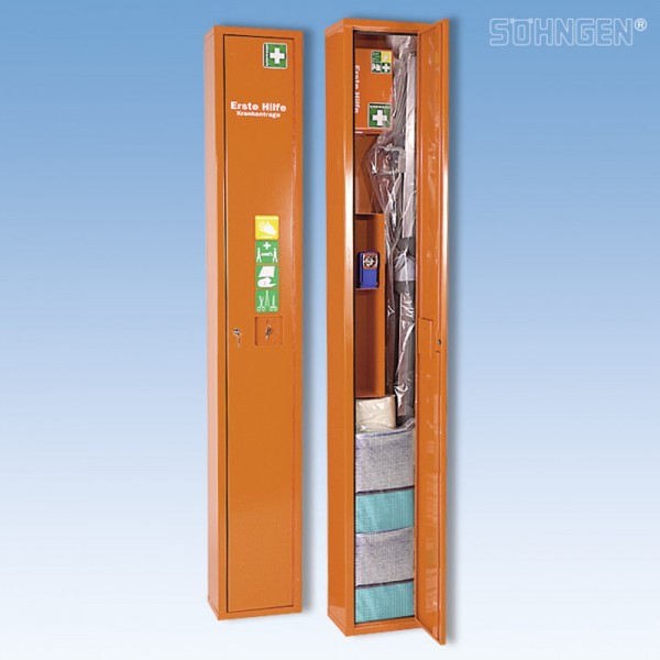 Erste-Hilfe-Schrank SAFE, Feinblech, gefüllt, 30 x 20 x 200 cm, orange